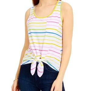 Rebellious One Juniors Striped Tie-Front Tank Top